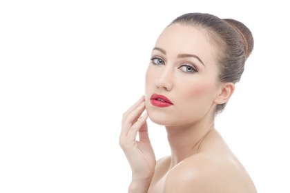 woman make up red lips