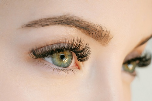 Woman's eyes with undereye fillers.
