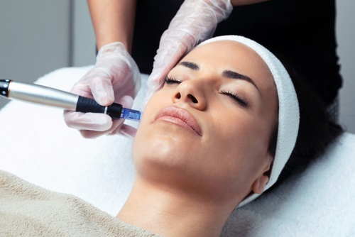 a woman having injectables in her face